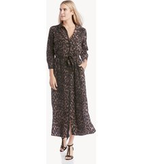 vince camuto women's animal phrases belted shirt dress in color: rich black size large from sole society
