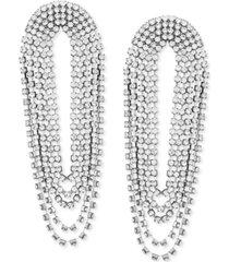 guess hematite-tone rhinestone chain multi-loop linear drop earrings