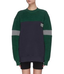 colourblock face patch cotton sweatshirt