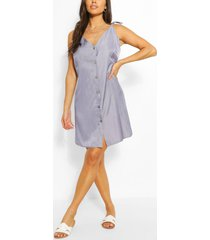 chambray button front strappy dress, blue