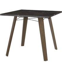 mesa de jantar tampo madeirado preto e tubos pretos carraro - incolor - dafiti