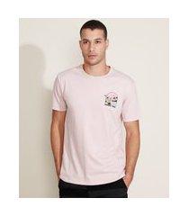 camiseta masculina caveira surfando manga curta gola careca rosa claro