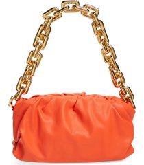 bottega veneta the chain pouch leather shoulder bag - orange
