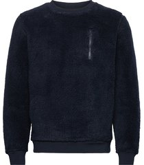 elm teddy fleece sweat - vegan sweat-shirt trui blauw knowledge cotton apparel