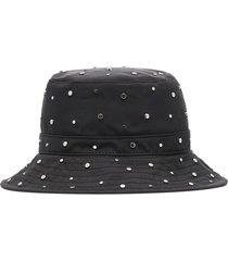 ganni studded nylon bucket hat - black
