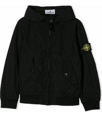 stone island black nylon bomber jacket