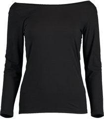 black 3/4 sleeve ballet neck tee