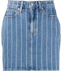 calvin klein jeans logo stripe skirt - blue