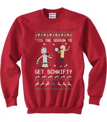 tis the season to get schwifty ugly sweater rick and morty sweatshirt red