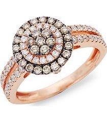 chocolatier® chocolate diamonds® and vanilla diamonds® 14k strawberry gold® ring