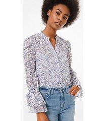 camicia in georgette con stampa floreale e maniche punto smock