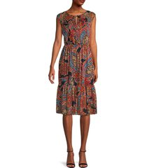 tommy hilfiger women's print sleeveless dress - sky captain multicolor - size 14