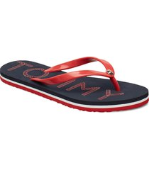 tommy footbed flat b shoes summer shoes flip flops blå tommy hilfiger