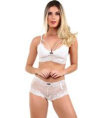 conjunto imi lingerie sem bojo caleã§on em renda melinda branco - branco - feminino - renda - dafiti