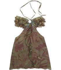 hafize ozbudak designer t-shirts & tops, floral printed ruched front silk halter top