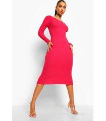 geribbelde gebreide midaxi jurk, pink