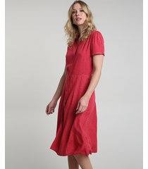vestido chemise feminino midi estampado de poá manga curta vermelho