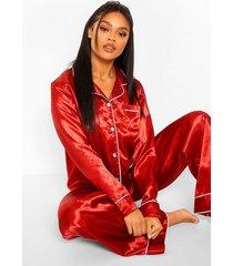 premium pyjama set met broek, steentjes en knopen, red