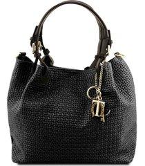 tuscany leather tl141573 tl keyluck - borsa shopping in pelle stampa intrecciata nero