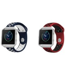 posh tech unisex fitbit blaze assorted silicone watch replacement bands - pack of 2