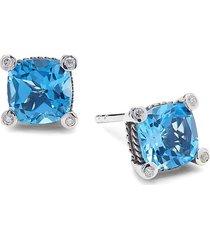 effy eny women's sterling silver, blue topaz & diamond stud earrings