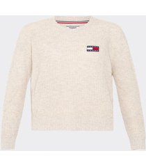 sweater badged camel tommy jeans