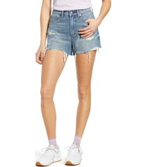 women's blanknyc ripped denim shorts, size 26 - blue
