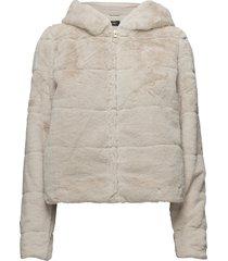 onlchris fur hooded jacket otw noos outerwear faux fur beige only