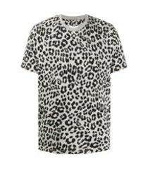 kenzo camiseta de algodão com estampa de leopardo - cinza