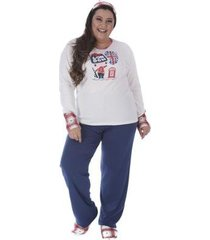 pijama de inverno plus size victory feminino