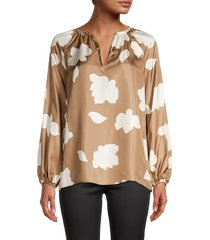 theory women's printed silk blouse - bright camel - size s