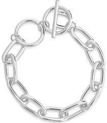 sterling forever women's white rhodium-plated link toggle bracelet