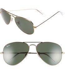men's ray-ban original aviator 58mm sunglasses - gold/ grey green