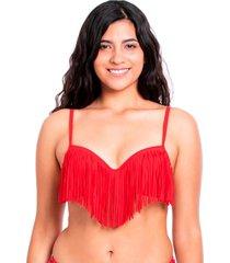 bikini estilo sostén con flecos rojo samia