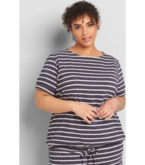 lane bryant women's livi short-sleeve tie-hem sweatshirt 10/12 night sky