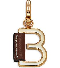 leather-wrapped b letter charm enhancer