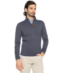 sweater azul 104 preppy m/l c/alto 1/2 cremallera t.delgado