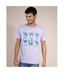camiseta de algodão stitch manga curta gola careca lilás