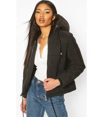 hooded padded jacket, black