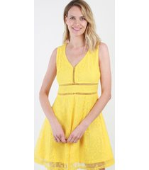 vestido de encaje lisa amarillo night concept