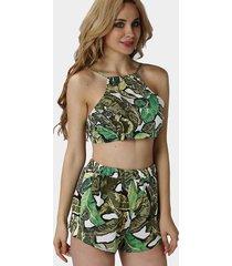 green foliage print self-tie crop top & shorts co-ord