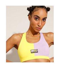 top esportivo color block decote nadador baw clothing lilás