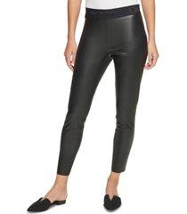 dkny faux-leather leggings