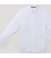 camisa casual cuadros blanco perry ellis