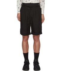 buckle detail linen shorts