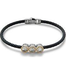 alor women's black pvd stainless steel, 18k yellow gold, & white topaz bracelet