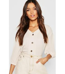 horn button through blouse, stone