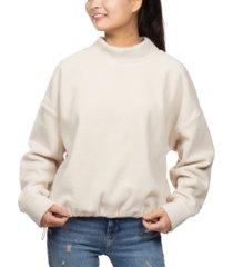 hippie rose juniors' mock-neck fleece bungee-hem sweatshirt