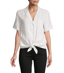french connection women's striped tie-waist shirt - white - size xs