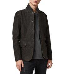 men's allsaints survey slim fit leather blazer, size xx-large - grey
